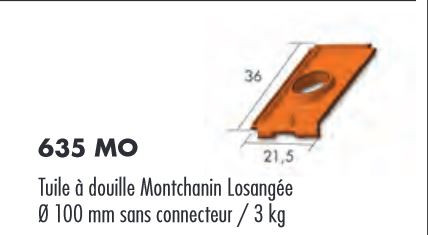 TUILE A DOUILLE UNIVERSELLE MONTCHANINLOSANGEE ROUGE