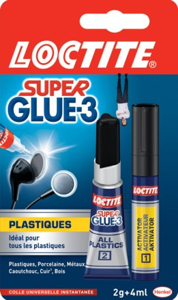 COLLE LOCTITE SUPER GLUE-3 PLASTIQUE2GR + STYLO 4ML REF 1601764